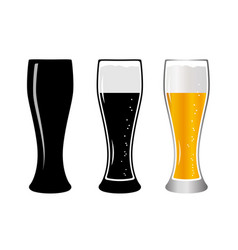 set glass beer vector image vector image