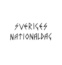 sweden national day lettering vector image