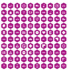 100 location icons hexagon violet vector