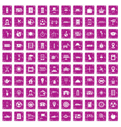 100 taxi icons set grunge pink vector image