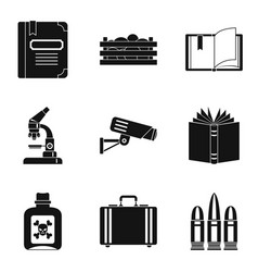 Accumulated knowledge icons set simple style vector