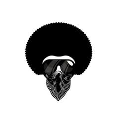 Afro man with bandana design flat vector
