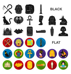Ancient egypt flat icons in set collection vector