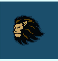 angry lion head with background logo vector image
