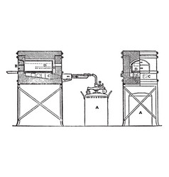 Automatic oil muffle furnace vintage vector