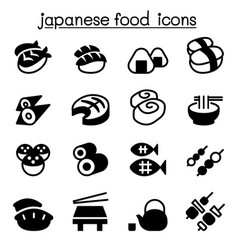 Basic japanese food icons set vector