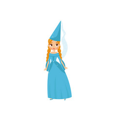 beautiful little princess in a blue dress and vector image