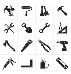 Black Building and Construction work tool icons vector image