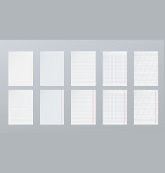 blank sheets of lined paper grid page set isolated vector image