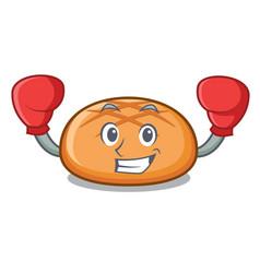 Boxing hamburger bun character cartoon vector