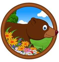 brown bear cartoon in frame vector image