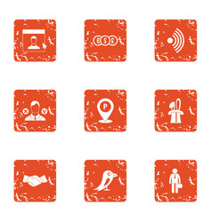 Business segment icons set grunge style vector
