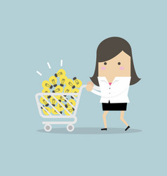 businesswoman buy ideas with shopping cart vector image