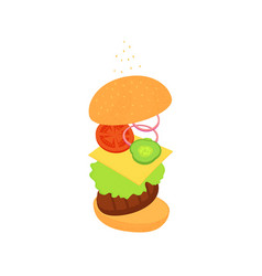 Cheeseburger american fast food bun with beef vector