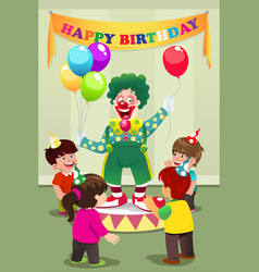 Clown carrying balloons to kids birthday party vector