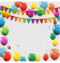 color glossy balloons and confetti on transparent vector image