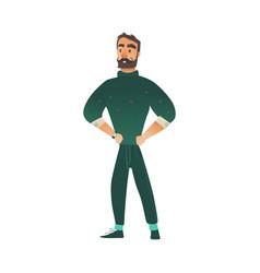 Confident bearded man in vector