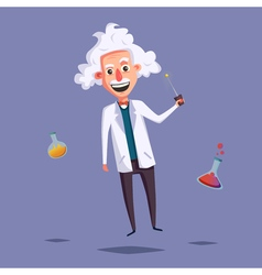 Crazy old scientist funny character cartoon vector