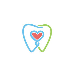 creative dental teeth heart metaphor logo vector image