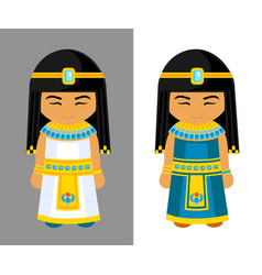 cute egyptian girls national dress traditional vector image