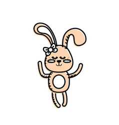 Cute rabbit girl wild animal character vector