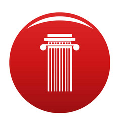 Cylindrical column icon red vector