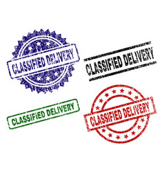 damaged textured classified delivery seal stamps vector image