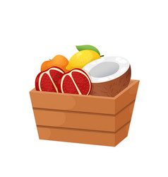 Deep wooden box with juicy fruits isolated on vector
