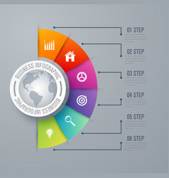Design infographic template 6 steps vector