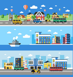 Digital blue city transport icons vector