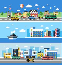 digital blue city transport icons vector image
