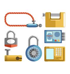 door locks different types padlock latches or vector image