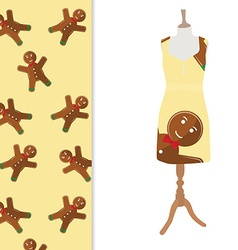 Dress with winter pattern vector
