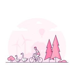 Eco lifestyle - thin line design style vector