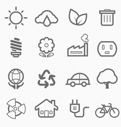 ecology symbol line icon set vector image