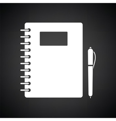 Exercise book with pen icon vector