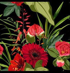 Exotic red flowers pattern vector