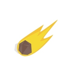 Falling meteor with long tail icon vector
