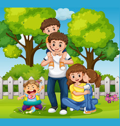family dayout in the park vector image