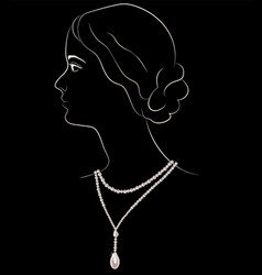 Girl in pearl necklace vector