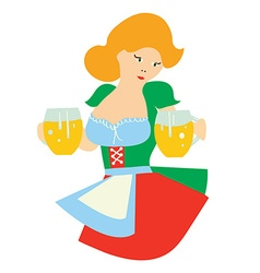 Girl with bear - cartoon for oktoberfest vector image
