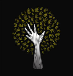 Gold glitter hand tree for nature help concept vector