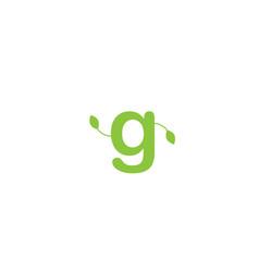Green leaf leafs letter g alphabet logo design vector