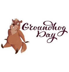 groundhog day hand written calligraphy text for vector image