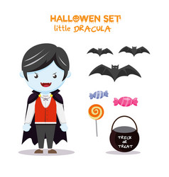Halloween set little dracula vector