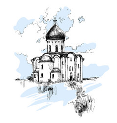 hand drawn russian church urban sketch vector image