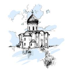 Hand drawn russian church urban sketch vector