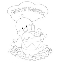 Happy easter greeting card black and white vector