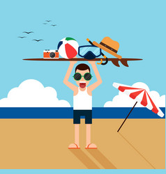 happy holiday on beach flat design concept vector image