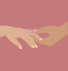 happy moment of engagement isolated vector image